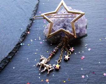 Gold Star Hair Clip with Unicorn, Unicorn Hair Accessory, Star Hair Accessory, Star Hair Clip, Party Hair clip, Star Hair Accessory
