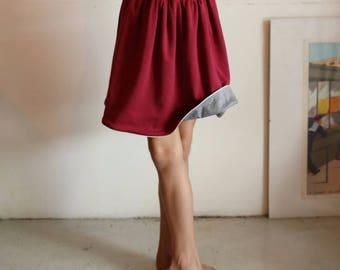 Reversible skirt, burgundy