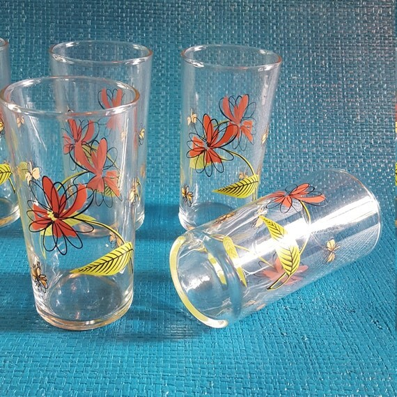 Set Of 6 Vintage Libbey Juice Glasses Floral Glasses Pink