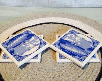 Vintage Holland-America Line Ceramic/Cork Souvenir Coasters x 4