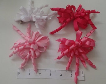 Adorable Curly Ribbon Hair Bows. Set of 4. Made in USA!