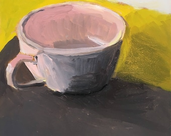 "Pink Cup, 2016. Original oil painting on board. 6x6""."