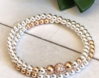 Rose Gold Filled & Sterling Silver Bead Ball Bracelets, 14K Rose Gold Filled, 925 Sterling Silver Stacking Bead Bracelets, Men and Women
