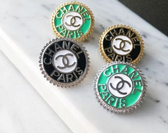 Chanel Paris logo inspired mini brooch, vintage jewelry, gold silver green, Luxury Unique Accessory Pins Clips Rhinestone
