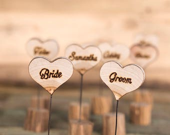 Wooden wedding place cards, Wood escort cards, Rustic table place cards, Wedding gift for guests, Wooden wedding place cards, Wooden hearts