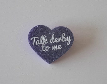 "Brooch ""Talk derby to me"" heart with glitter silver/purple"