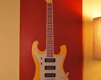 """Original Acrylic Painting Wall Art Pop Art 20"""" x 40"""" Stretched Canvas Frame Red, Yellow Retro Guitar"""