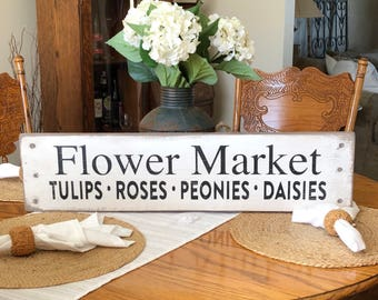 Rustic flower market sign, market sign, flowers sign, farmhouse sign