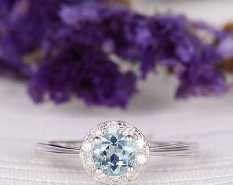 Aquamarine Wedding Ring Engagement Ring White Gold Thin Halo Bridal Ring March Birthstone Multistone Diamond Anniversary Birthday Gift Ring