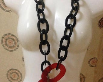 """Natural Buffalo Horn Necklace, Necklace length 40"""" [100cm], Material Natural Buffalo Horn And Lacquer Glamor Pink Color [NHL10]"""