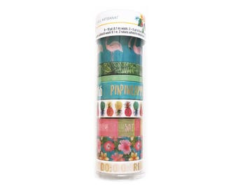 Set of 8 Washi Tapes, Recollections, Flamingo / Pineapple / Tropical / Summer Theme