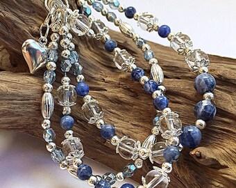 Gemstone bracelet, sodalite bracelet, multi strand bracelet, one of a kind, chunky bracelet, boho style, quartz bracelet, silver bracelet