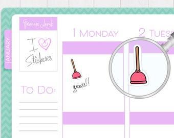 Plunger Planner Stickers, Planner Stickers, Plumbing Stickers, Chore Stickers, Kawaii Stickers, Calendar Stickers, Cleaning Stickers