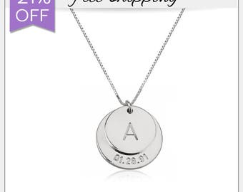 21% OFF - Engraved Initial and Date Necklace • Double Disc Necklace • Girlfriend Gift • Baby Date Necklace • Silver Engraved Necklace