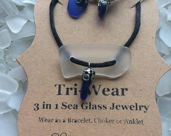 Cobalt Blue Sea Glass Jewelry/One of a Kind Jewelry/Girls/Jewelry for Women/Mother's Day Gift/Pendant Necklace/Jewelry For Girlfriend/Anklet