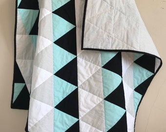Handmade Baby Boy Triangle Quilt, Baby Blue, Crib Blanket, Baby Shower Gift