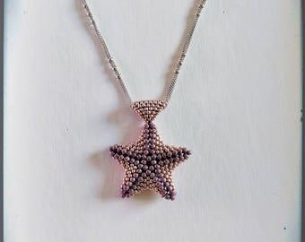 Beaded Starfish Pendant * Seed beads, Beaded pendant, Lavender, Pink, Summer jewelry *