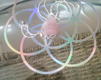 Natural Rose Quartz necklace with 925 silver chain