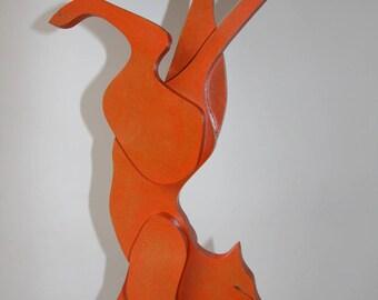 Cat Acrobat B medium dyed orange and chocolate base