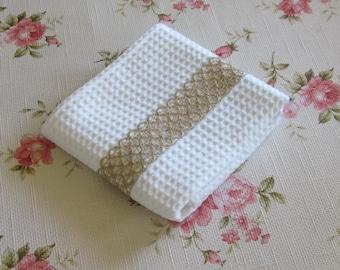 Kitchen towel - Shabby Chic - Lace - Handmade