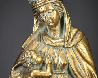 "Virgin Mary with Baby Jesus Statue | Madonna with Child Christ Figure | Antique Gilded Plaster | Gilt Chalk | 16"" Large"