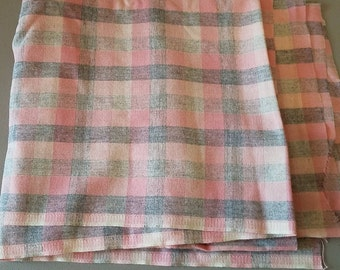 Vintage Pink Grey Lightweight Wool Blend Plaid Fabric - 1 3/4 Yards - Beautiful Weave Soft Colors