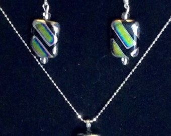 Jewelry Set / Earrings and Pendant / irridescent color mainly greens and blacks