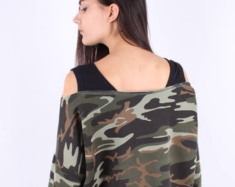 Army Cropped Sweatshirt  / Exposed shoulders / Army Oversized Sweatshirt / Extra long sleeves /Rips Finishing/Military Asymmetric Sweatshirt