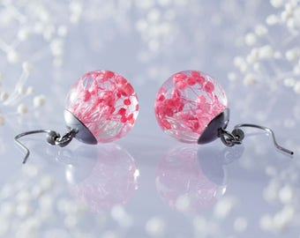 Lovely Real Flower Earrings - Pink Babys Breath Blossoms