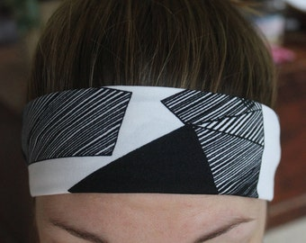 Black and white striped abstract non-slip headband
