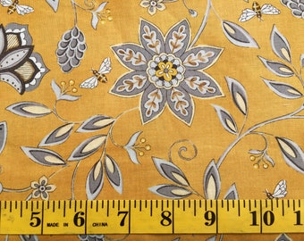 Moda Bee Creative Honey Flowers and Bees Deb Strain 19751-12 Gold Black White Cotton Fabric By the Yard