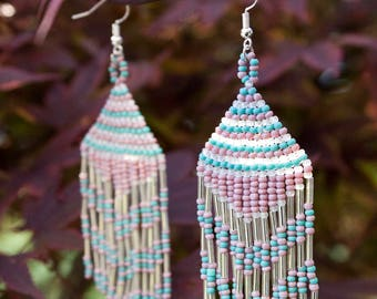 Turquoise Lavender Clear Seed Bead Earrings