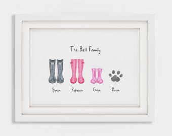Personalised Wellies Digital Print, Wellington Boots, Rain Boots, Family Gift, Home Warming Gift