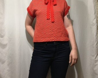 Vintage Women's S/M Red Polka Dot Neck Tie Sweater Blouse