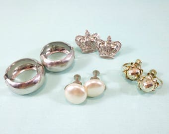 Set of 4 silver-toned clip on and screw back earring pairs