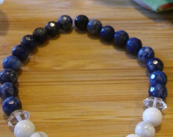 Universal Truth, Release Anger and Stress, Manifest Pure Light- Lapis, Howlite & Herkimer Diamond Stretch Bracelet