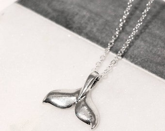 Silver Plated Whale Tail Necklace 10% of Purchase Donated to Ocean Conservation