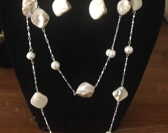 Inspirational White  Shells and White Fresh Water Pearls Necklace and Earrings