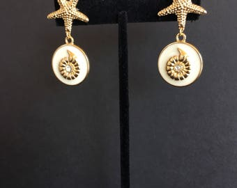 Gold Nautilus and Gold Starfish Earrings by Dobka