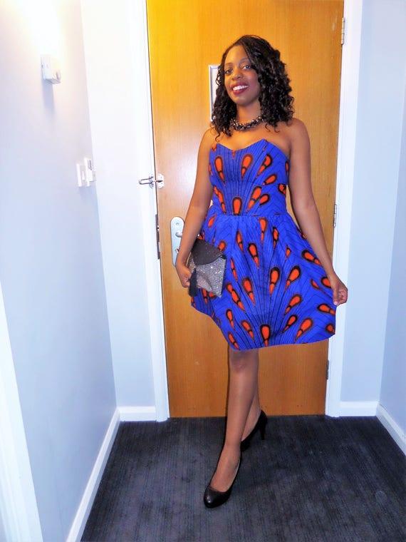 robe bustier en wax pagne africain. Black Bedroom Furniture Sets. Home Design Ideas