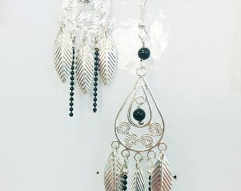 chandelier black ball chain and leaf earrings