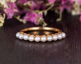 Antique Akoya Pearl Band Gold Unique Wedding Band Women Retro Ring Half Eternity Retro Stacking Anniversary Promise Engraving Birthstone