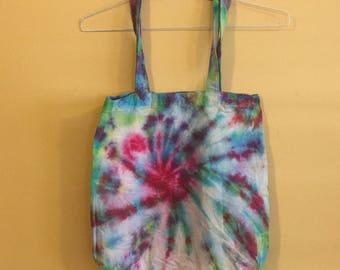 Cotton canvas tie dye tote bag