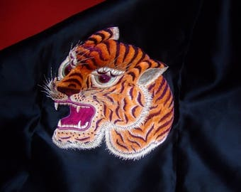 Old tiger embroidery silk * 49 cm x 55 cm * 1950s