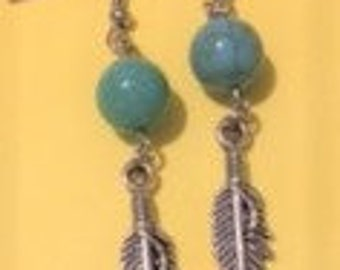 Green Turquoise (arcylic) with Silver Feather Drop Earrings