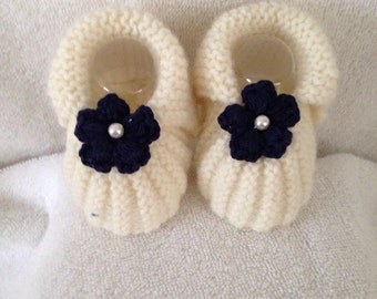 Pair slippers blue maguerite 0/3 months