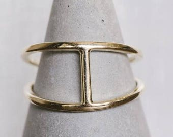 14kt Gold Double Band Bar Ring | 14kt Solid Gold Ring | Minimalist Fine Jewelry | Duende Jewelry | Solid Sterling Silver Bar Ring |