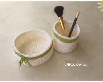 Basket and jar crochet - Acryl lace white green - accessories bathroom makeup hair - gift for all-Sweet Home - Hand Made-