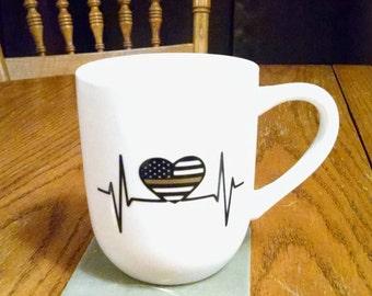 Thin yellow line, thin gold line heart rhythm, 12 oz white mug