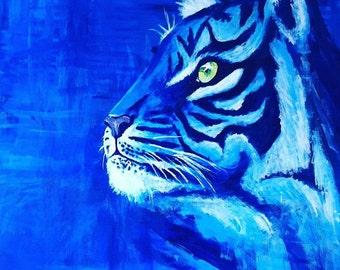 Blue Tiger Original Painting, Animal Artwork